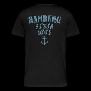 Hamburg Koordinaten Anker (Vintage Hellblau) S-5XL T-Shirt - Männer Premium T-Shirt