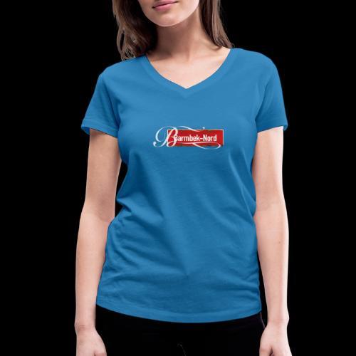 Frauen T-Shirt (V): Barmbek-Nord | Retro-Ortschild | Schmuckinitial - Frauen Bio-T-Shirt mit V-Ausschnitt von Stanley & Stella
