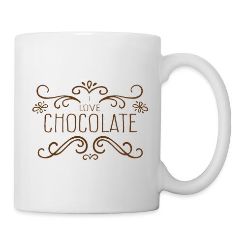 I Love Chocolate Bouteilles et Tasses - Mug blanc