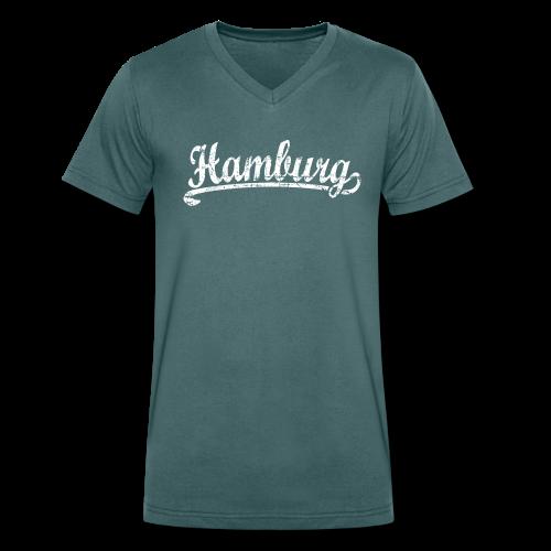 Hamburg Klassik (Vintage Weiß) V-Neck T-Shirt - Männer Bio-T-Shirt mit V-Ausschnitt von Stanley & Stella