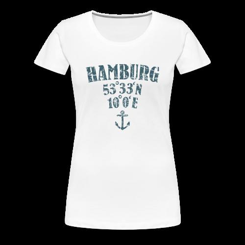 Hamburg Koordinaten Anker (Vintage Blau) S-3XL T-Shirt - Frauen Premium T-Shirt