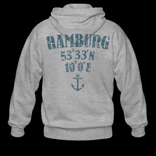Hamburg Koordinaten Anker (Vintage Blau) Kapuzenjacke - Männer Premium Kapuzenjacke