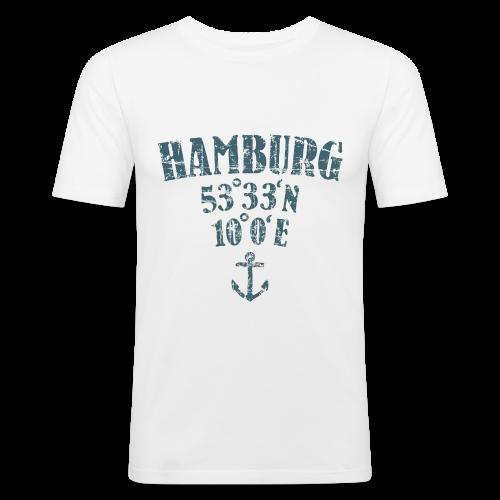 Hamburg Koordinaten Anker (Vintage Blau) Slim Fit T-Shirt - Männer Slim Fit T-Shirt