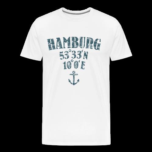 Hamburg Koordinaten Anker (Vintage Blau) S-5XL T-Shirt - Männer Premium T-Shirt