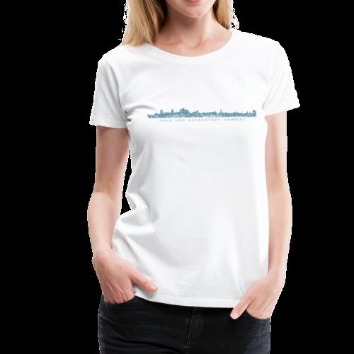 Freie und Hansestadt Hamburg Skyline EP (Blau) Damen T-Shirt - Frauen Premium T-Shirt