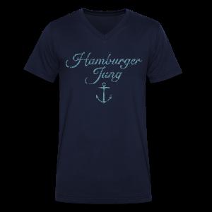 Hamburger Jung Anker Classic (Vintage Hellblau) V-Neck T-Shirt - Männer Bio-T-Shirt mit V-Ausschnitt von Stanley & Stella