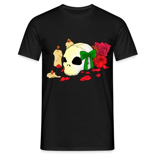 Männer T-Shirt - Skull,Rose,Goth,Candle