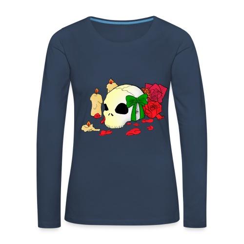 Frauen Premium Langarmshirt - Candle,Goth,Rose,Skull
