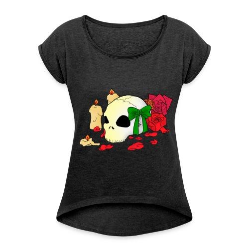 Frauen T-Shirt mit gerollten Ärmeln - Candle,Goth,Rose,Skull