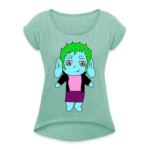 Chibi-Shirt für Frauen - Frauen T-Shirt mit gerollten Ärmeln