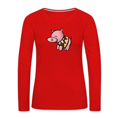 Grisen i pullover - Långärmad premium-T-shirt dam - Långärmad premium-T-shirt dam