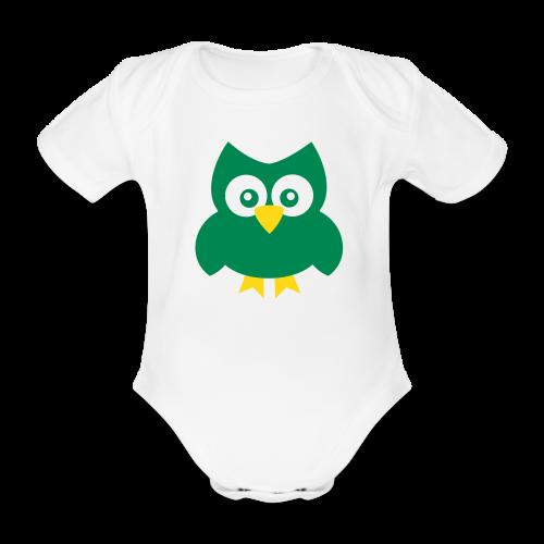 Baby-Body: Eule (grün) - Baby Bio-Kurzarm-Body
