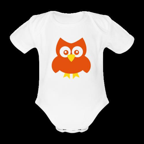 Baby-Body: Eule (orange) - Baby Bio-Kurzarm-Body