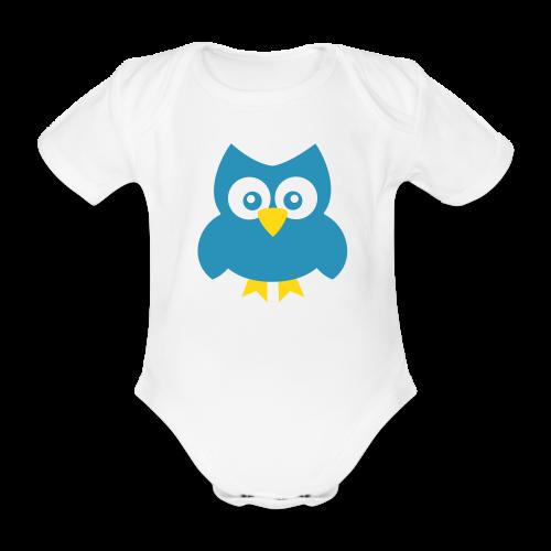 Baby-Body: Eule (blau) - Baby Bio-Kurzarm-Body