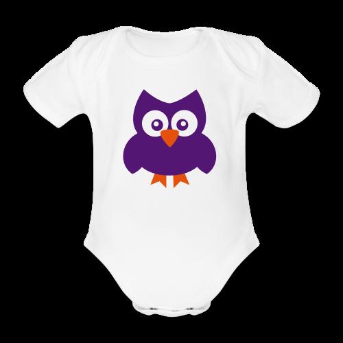 Baby-Body: Eule (lila-orange) - Baby Bio-Kurzarm-Body