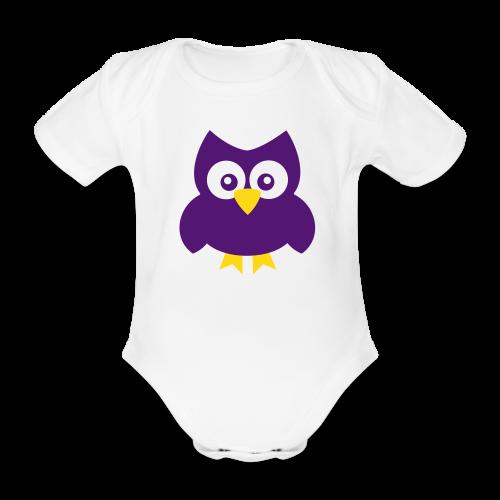 Baby-Body: Eule (lila) - Baby Bio-Kurzarm-Body