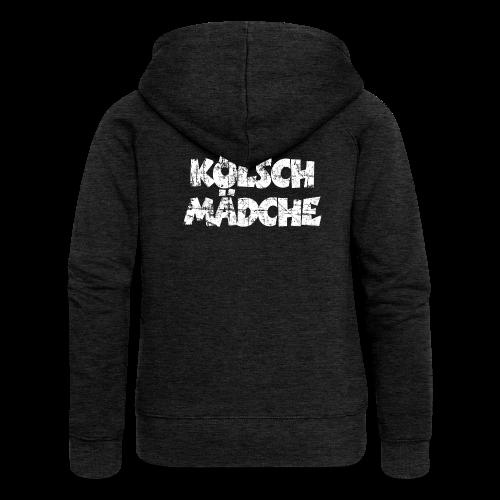 Kölsch Mädche (Vintage Weiß) Köln Hoodie - Frauen Premium Kapuzenjacke