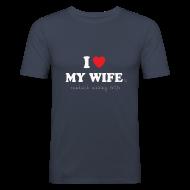 T-Shirts ~ Men's Slim Fit T-Shirt ~ I Love My Wife 's Sandwich Making Skills