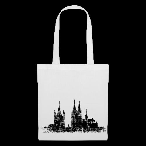 Kölner Dom St.Martin (Vintage Schwarz) Stofftasche - Stoffbeutel