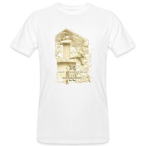 Post Horse Stable 1900 with men's organic Earthpositive T-shirt in white - Men's Organic T-Shirt