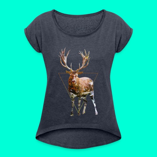 N1. - Naisten T-paita, jossa rullatut hihat