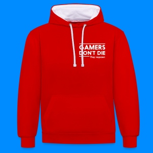 Official GalaxyGamingHD Red & White Men's Hooded Jumper - Contrast Colour Hoodie