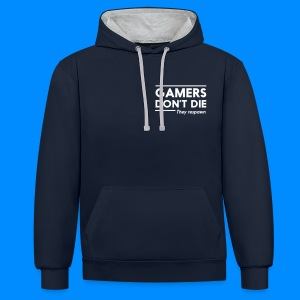 Official GalaxyGamingHD Grey & Navy Men's Hooded Jumper - Contrast Colour Hoodie