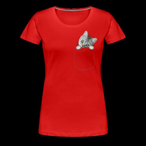 Katze guckt aus der Tasche - Frauen Premium T-Shirt