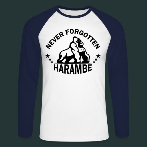 Never Forgotten Harambe T-Shirt | Mens - Men's Long Sleeve Baseball T-Shirt