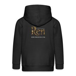 Ren Kids Hoodie Ren logo and website - Kids' Premium Zip Hoodie