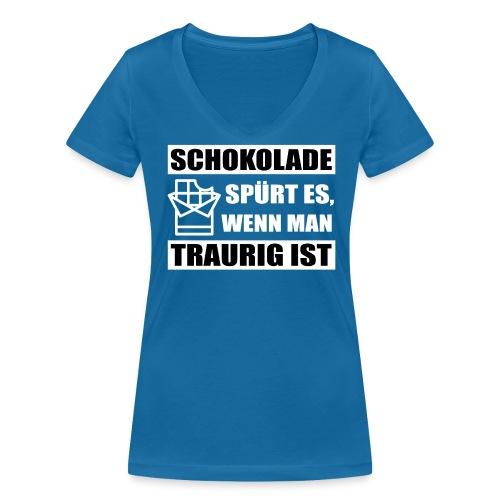 Frauen T-Shirt mit V-Ausschnitt Schokolade spürt es... - Frauen Bio-T-Shirt mit V-Ausschnitt von Stanley & Stella