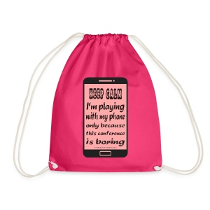 cotton backpack pink phone keep calm - Sacca sportiva