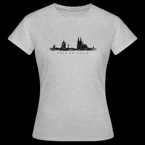 Köln am Rhein Skyline (Vintage Schwarz) T-Shirt - Frauen T-Shirt