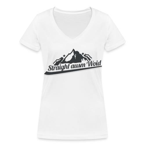 Straight ausm Woid | Weiß - V Ausschnitt - Frauen Bio-T-Shirt mit V-Ausschnitt von Stanley & Stella