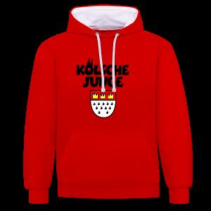 Kölsche Junge mit Kölner Wappen Köln Kontrast Hoodie - Kontrast-Hoodie