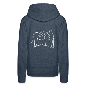 Front MPS Reiter small, Back: Walking Together, Women Hoody ( Print: Digital White) - Frauen Premium Kapuzenpullover