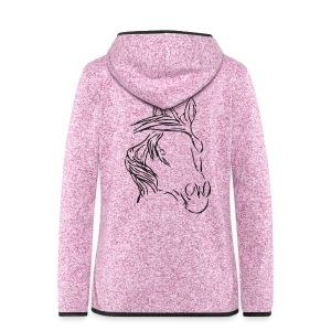 Back: Dreamhorse,  Women Zipper (Print: Black Glitter) - Frauen Kapuzen-Fleecejacke