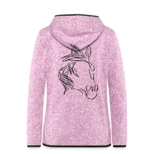 Back: Dreamhorse,  Women Zipper (Print: Black Glitter) - Frauen Kapuzen-Fleecejacke