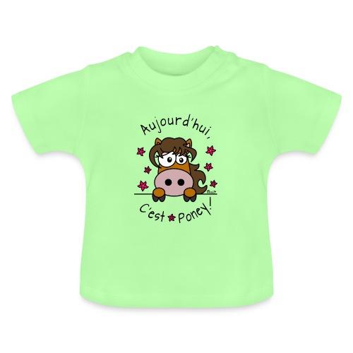 T-shirt Bébé Fille, Aujourd'hui C'est Poney - T-shirt Bébé