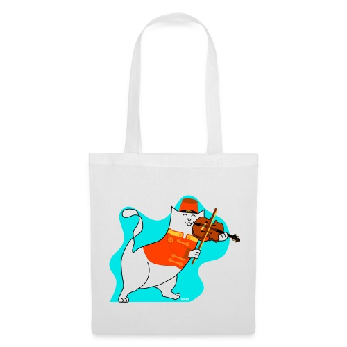 Roger the cat playing his violin - Tote Bag
