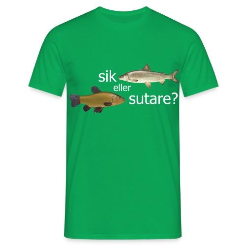 Sik eller sutare - Vit text - T-shirt herr