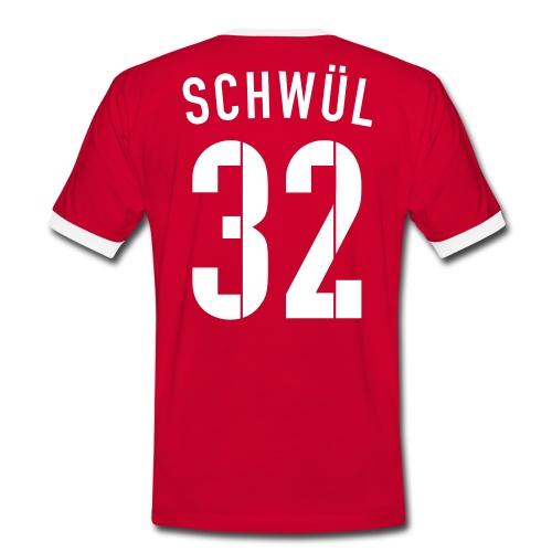 SCHWÜL 32° - Männer Kontrast-T-Shirt