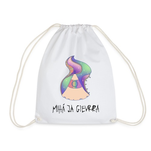 169 x @boisurf White, Black Glitter Gym Bag - Drawstring Bag