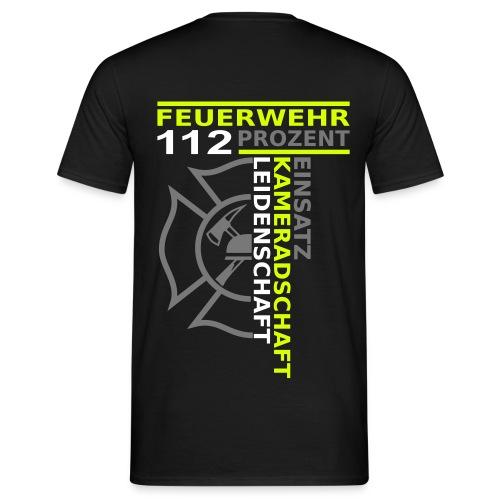 T-Shirt 112% Einsatz Kameradschaft Leidenschaft schwarz gelb weiß grau - Männer T-Shirt