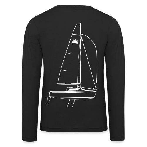 KINDER-Langarm-Shirt (weiße Schrift), versch. Farben, Logo und Wunschtext auf Brust, Boot (Cruiser/Racer) auf Rücken.  ACHTUNG! ES MUSS AUF DER BRUSTSEITE EIN WUNSCHTEXT EINGEGEBEN WERDEN, SONST ERSCHEINT GER-XXX! - Kinder Premium Langarmshirt
