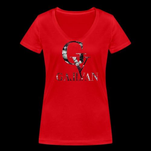 Gallvan Logo Floral T-Shirt Rosso Flo Woman - Frauen Bio-T-Shirt mit V-Ausschnitt von Stanley & Stella