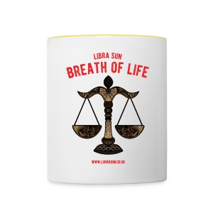 Sun Sign Libra with motto. Ceramics Mug. - Contrasting Mug