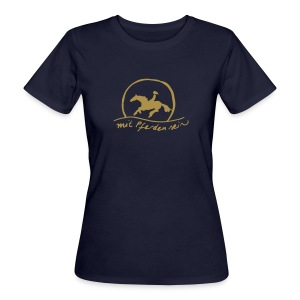 Sunset Rider - Gold on Blue - Bio Shirt for Ladys (Print: Gold Glitter) - Frauen Bio-T-Shirt