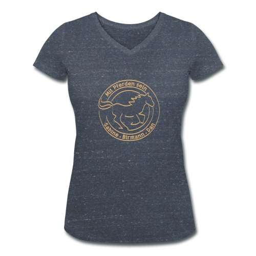 Free Runner Back: personalisierbar - Ladys V- Neck (Print: Digital Sand) - Frauen Bio-T-Shirt mit V-Ausschnitt von Stanley & Stella