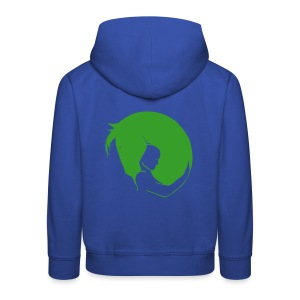 Front Personalisierbar Back:Embrace  KIDS/TEEN Hoody (Green Glitter/ Backprint: Green -digital-) - Kinder Premium Hoodie